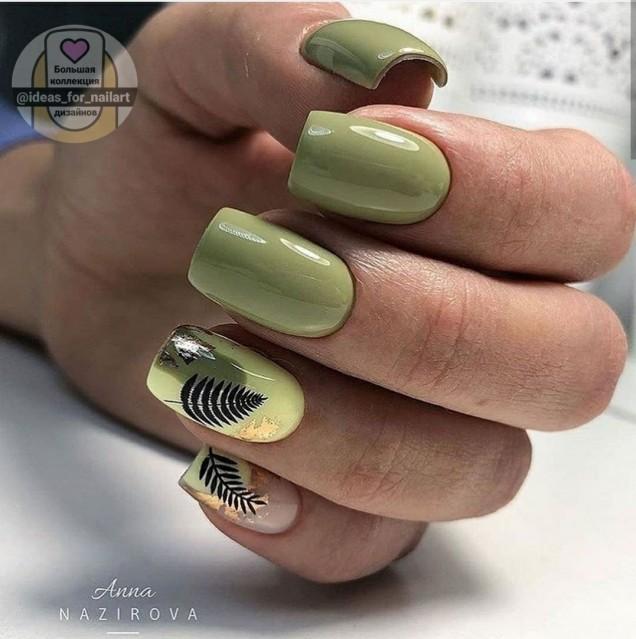 зелен маникюр квадратни нокти