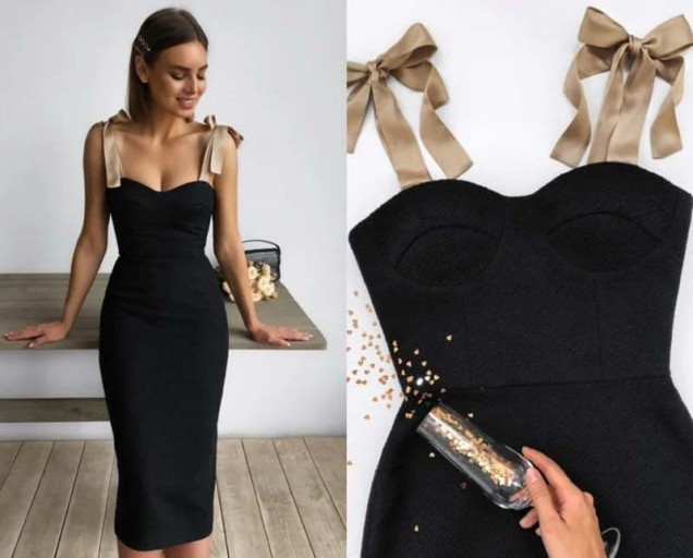 малка черна рокля с корсет
