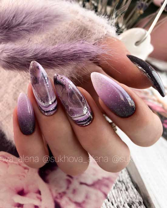 маникюр лилав мрамор