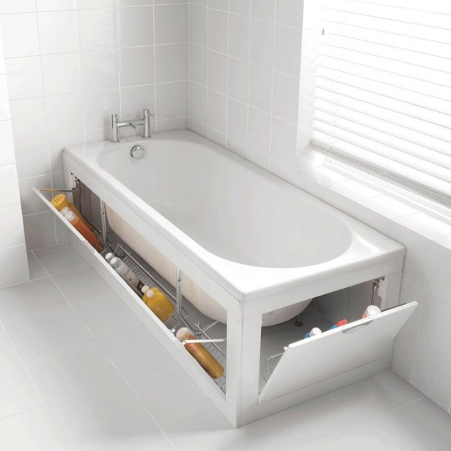 място за съхранение под ваната