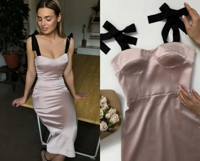 вталена рокля с корсет