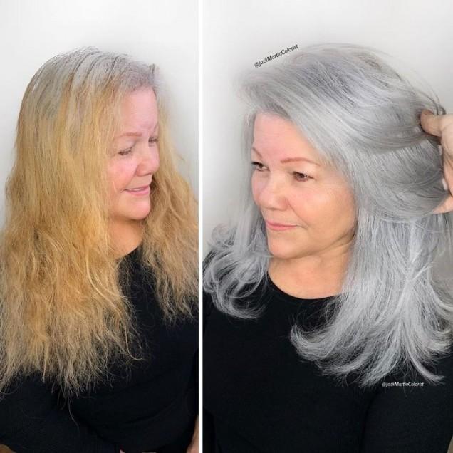 нова прическа сива коса