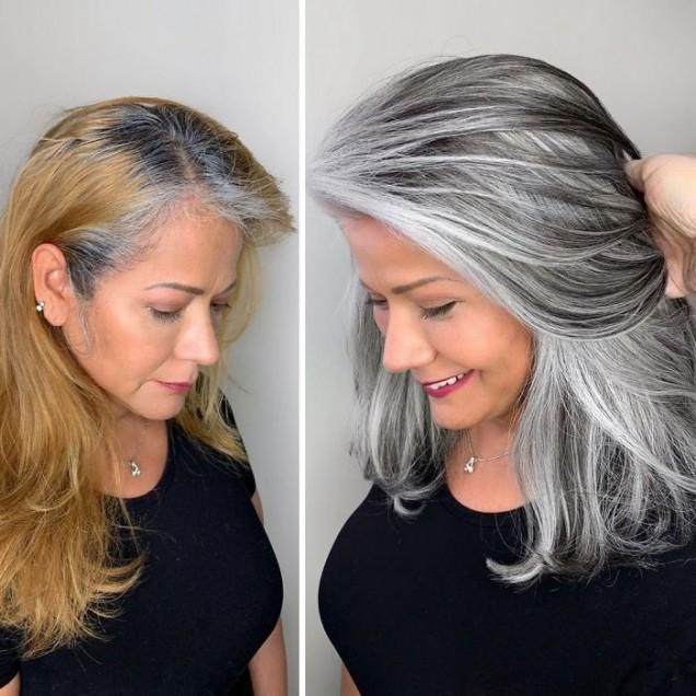 прическа нова сива коса