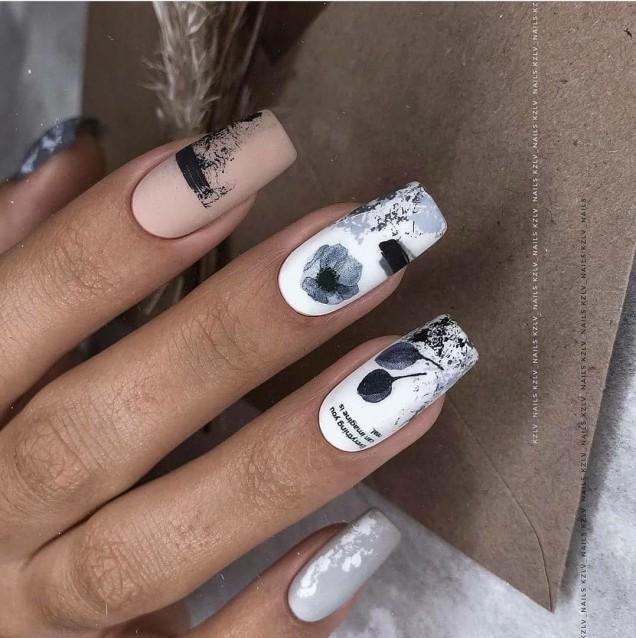 есенно-зимен маникюр квадратни нокти