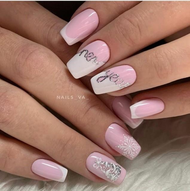 зимен маникюр в розово