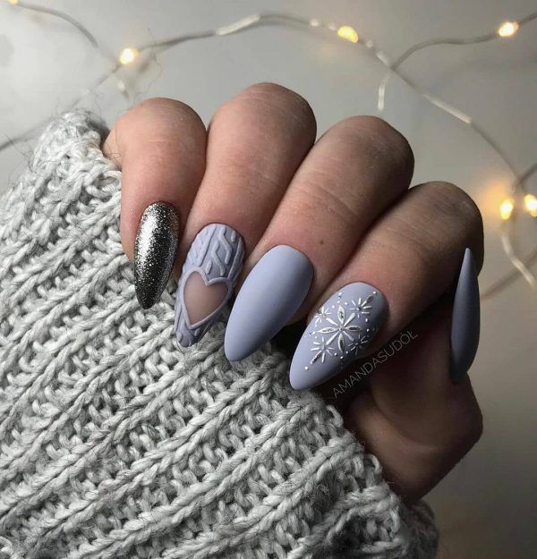 плетен маникюр зима
