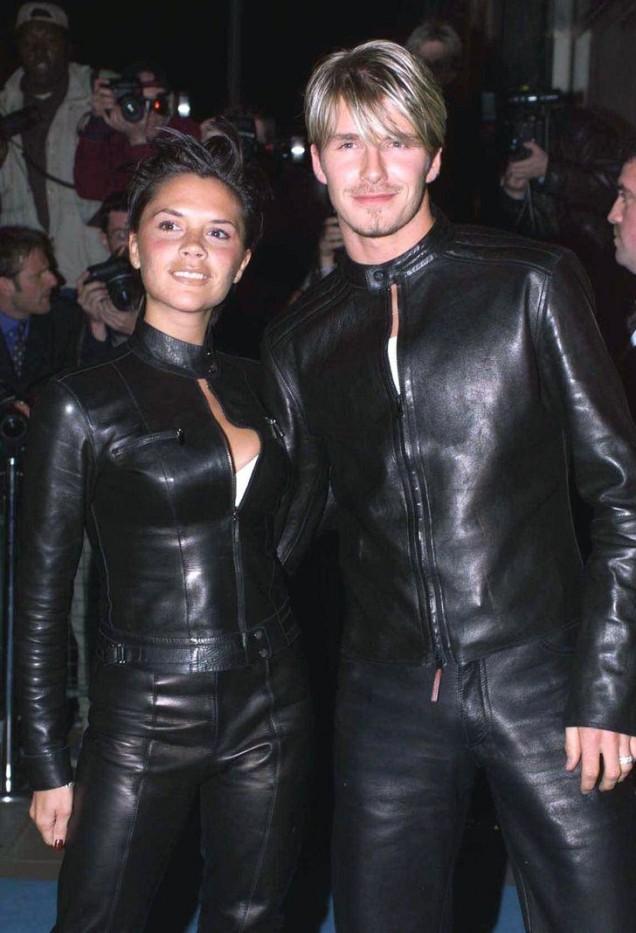 Виктория и Дейвид Бекъм и кожените дрехи