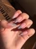 брокатен маникюр остри нокти