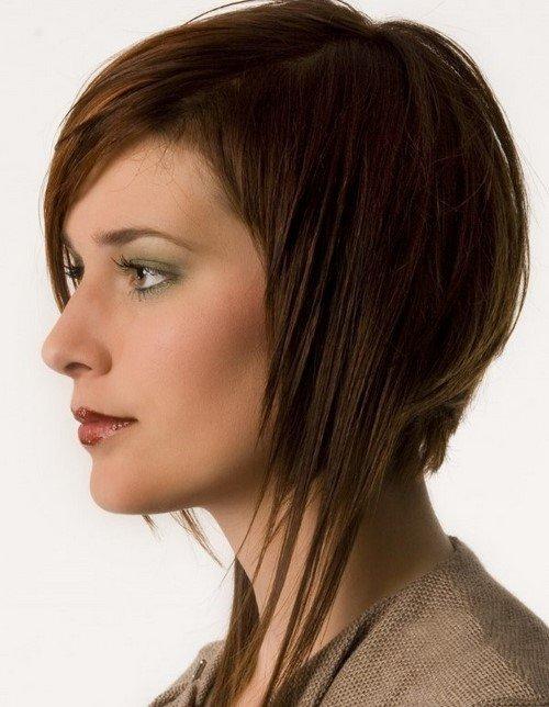 асиметрична прическа тънка коса