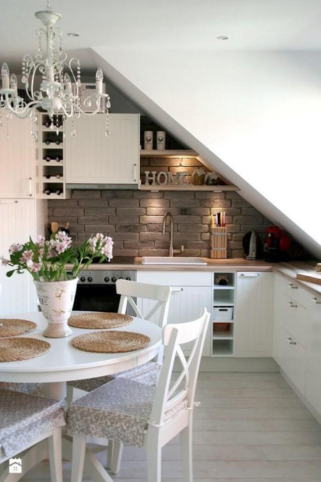 малка кухня скосявания