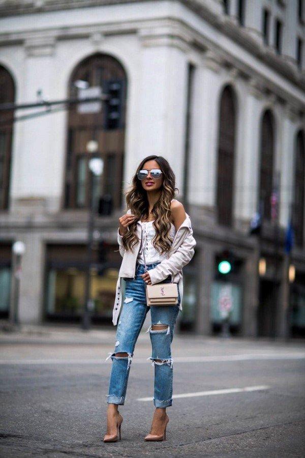 дънки с късо яке