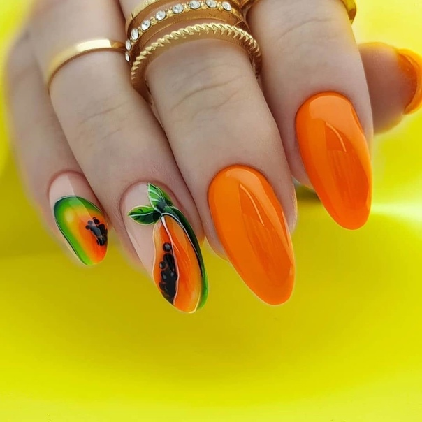 оранжев маникюр неон