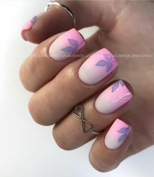 къс маникюр розова гама