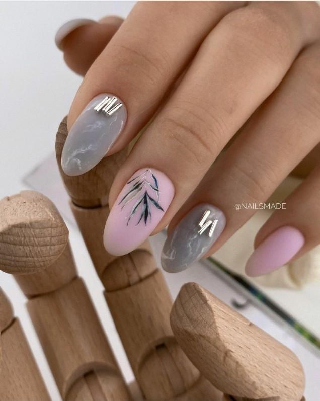летен маникюр сиво и розово
