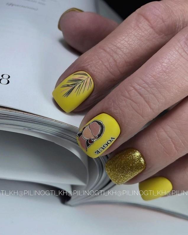 Идеи за жълт маникюр