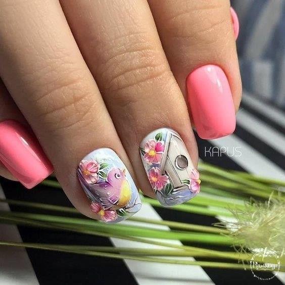 розов маникюр