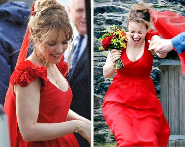 червена булчинска рокля