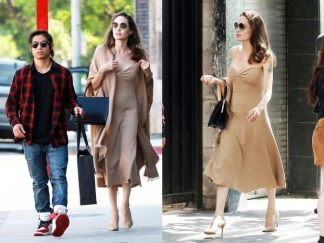 Анджелина Джоли бежова рокля