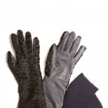 Черни ръкавици с лицева кожа Rochas есен-зима 2011