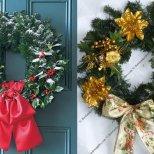 Украса за Коледа - венци от борови клонки с панделки