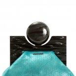 Тумбеста синя малка чанта с декоративно топче закопчалка Viktor and Rolf за Пролет-Лято 2012