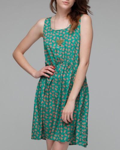 Тюркоазено зелена рокля туника на малки листа