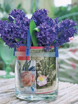 Зюмбюл във ваза със снимка