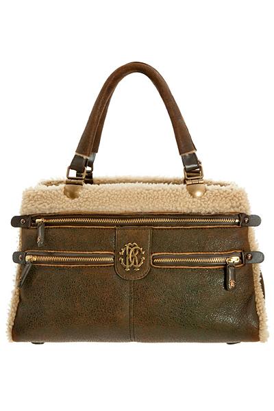 Средно малка чанта кафява кожа с бяла пухена ивица Roberto Cavalli Есен-Зима 2011
