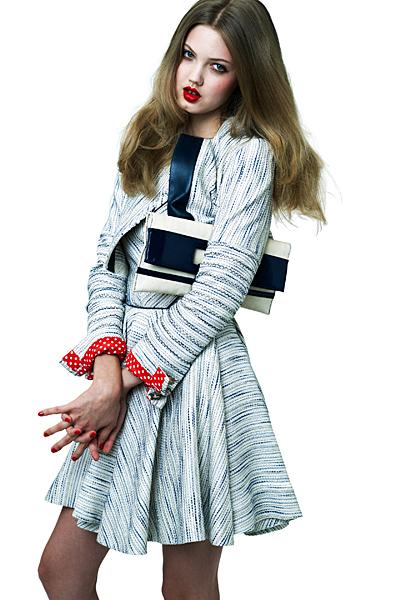 Светла рокля с дълъг ръкав разкроена от кръста Ваканционна колекция Z Spoke на Zac Posen 2012