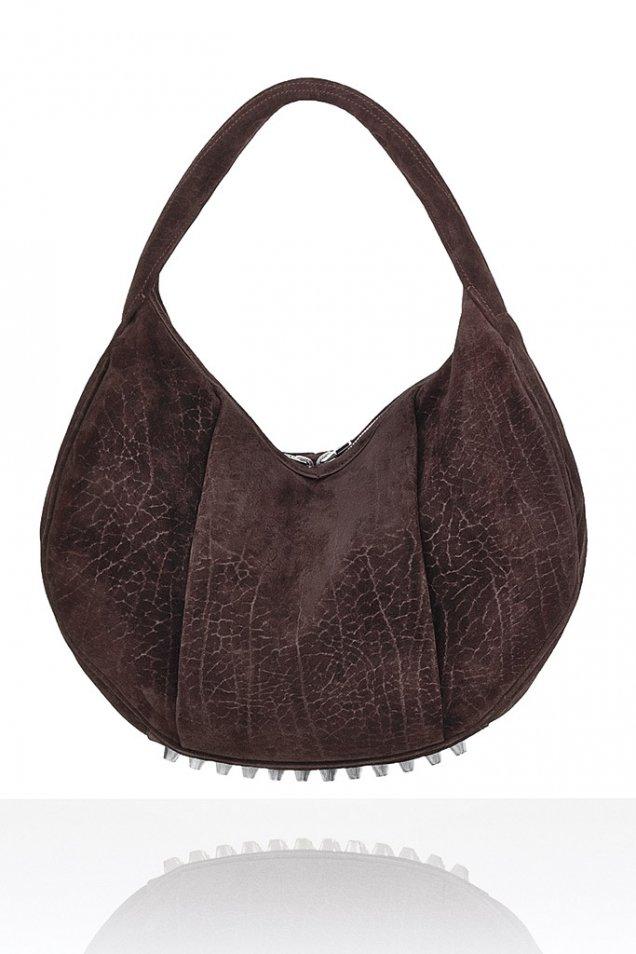 Намачкана чанта от кафяв велур форма банан от Alexander Wang Зима 2011/2012