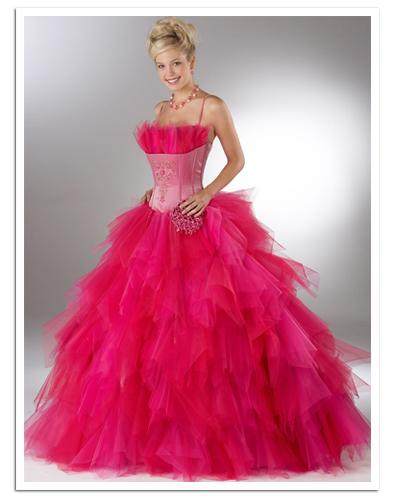 Ярко розова Бални рокли 2012 с корсет