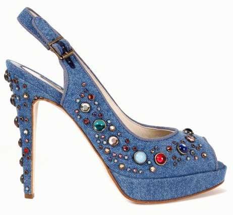 Дънкови обувки на висок ток с камъни Brian Atwood