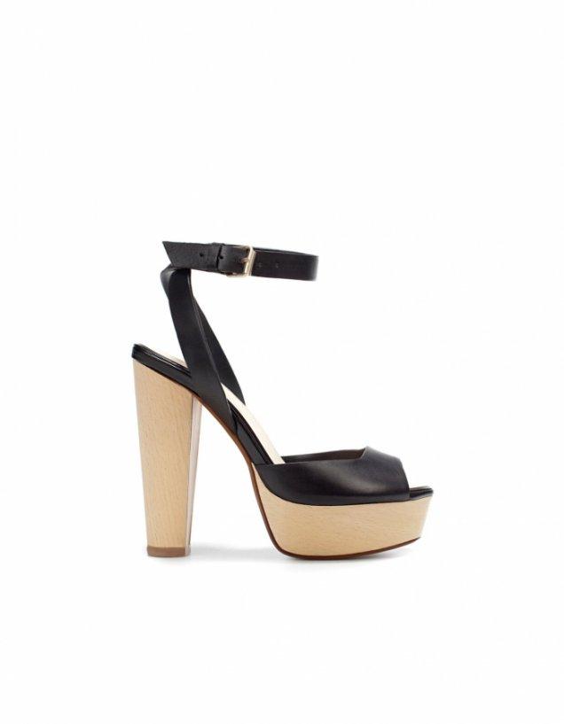 Класически сандали с каишка около глезена в черно Zara Пролет-Лято 2012