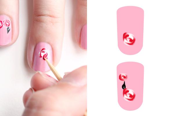 Декорация за нокти рози - стъпка 2