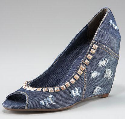 Дънкови обувки на платформа с отворени пръсти с капси Ash