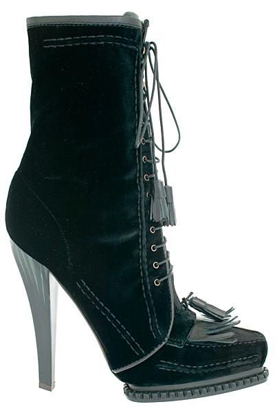 Ниски ботуши на ток черен велур с връзки Roberto Cavalli Есен-Зима 2011