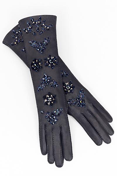 Черни кожени ръкавици с бродерии с мъниста Loewe Есен-Зима 2011