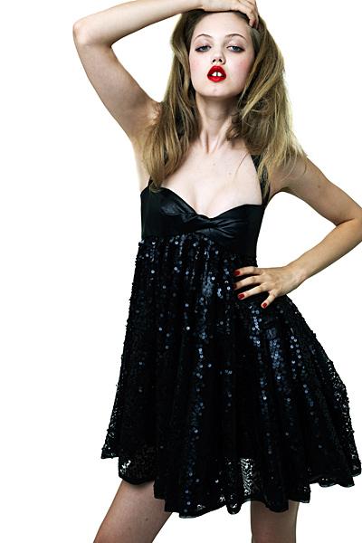 Къса черна рокля с пайети Ваканционна колекция Z Spoke на Zac Posen 2012