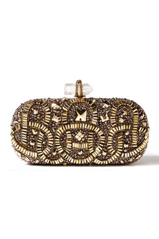 Вечерна чанта със златни пайети и мъниста Marchesa пролет 2012