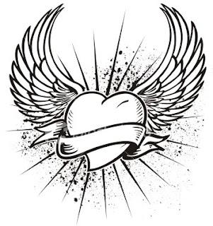 Татуировка сърце с крила