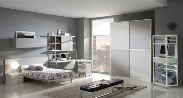 Детска стая за момче в сиво и бяло модерна