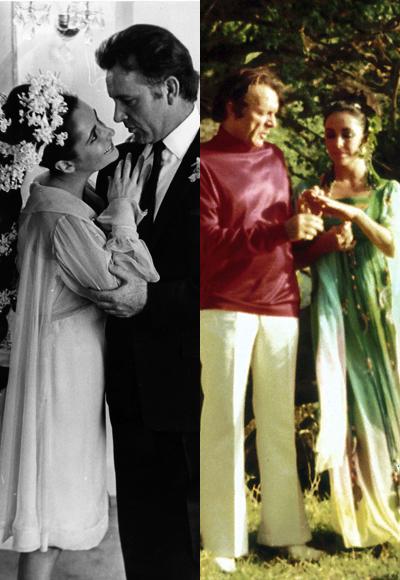 Елизабет Тейлър през 1964 с Ричард Бъртън в нетрадиционна за времето си рокля и в зелено за втората им сватба през 1976