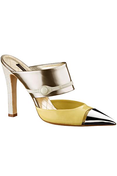 Чехли нависок тънък ток в жълто и сребристо Louis Vuitton..