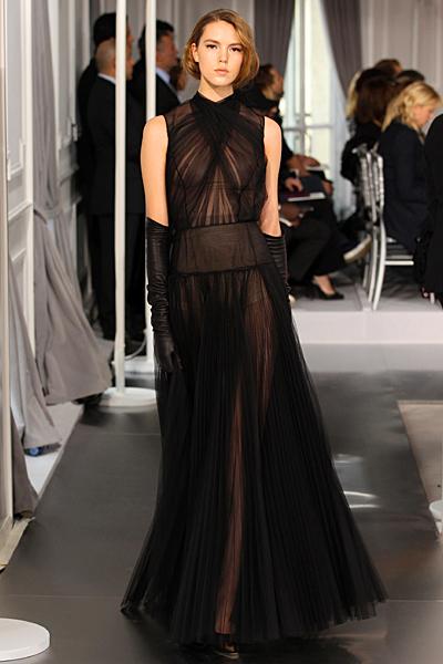 Дълга секси черна рокля Haute Couture на Dior за Пролет-Лято 2012