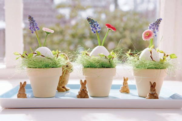 Декорация за маса с великденски зайчета