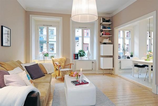 Светъл интериор за малък апартамент