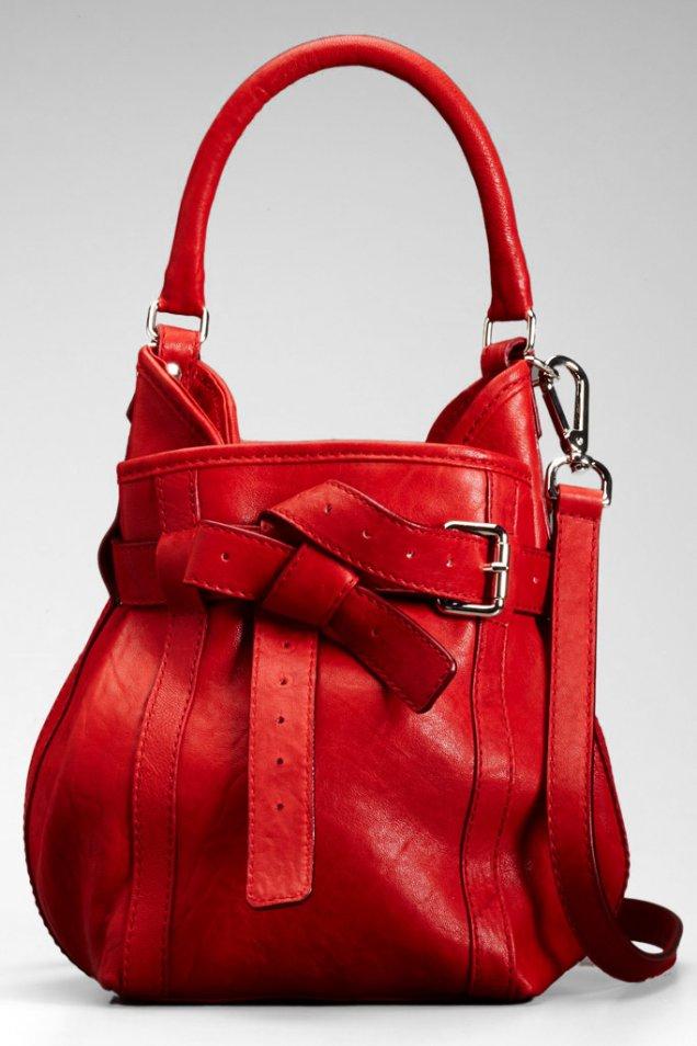 Ярко червена чанта с декоративни каишки Thakoon Зима 2011/2012