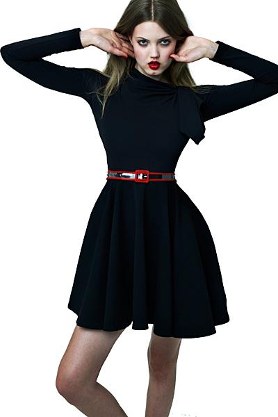 Къса черна рокля по врата с панделка Ваканционна колекция Z Spoke на Zac Posen 2012