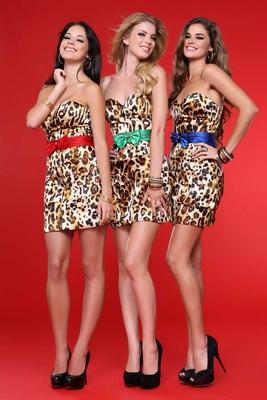 Леопардова права рокля къса без презрамки за бал 2012