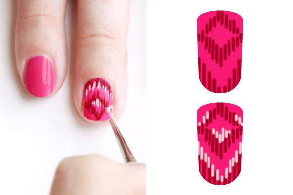Ефектна декорация за нокти 3 нюанса розово - стъпка 2